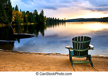 木製の椅子, ∥において∥, ビーチの上の日の入