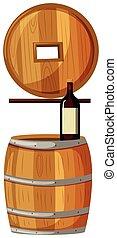 木製の樽, びん, ワイン