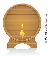 木製の樽, ベクトル, イラスト