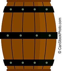木製の樽, 隔離された, アイコン