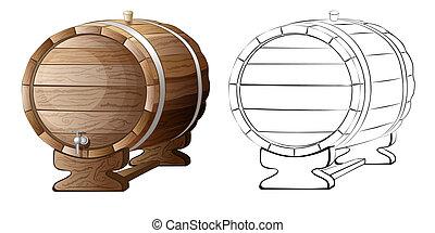 木製の樽, 隔離された, イラスト