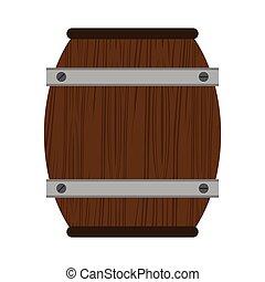 木製の樽, 隔離された, ワイン