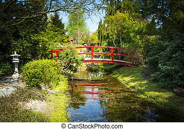 木製の橋, 中に, 日本の庭