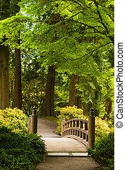 木製の橋, 中に, a, 日本の庭