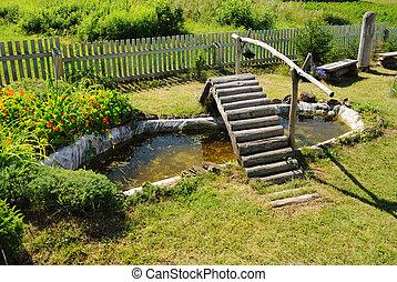 木製の橋, 小さい, 庭, 池