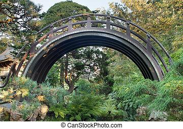 木製の橋, 曲がった, 庭の日本人