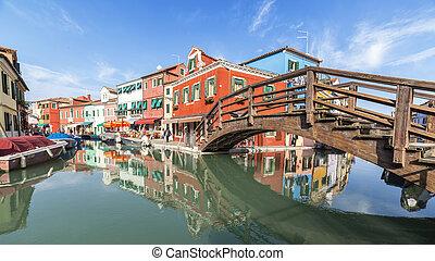 木製の橋, burano, 島
