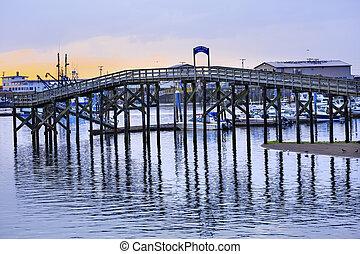 木製の橋, westport, 灰色, 港, ワシントン州