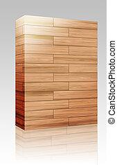 木製の箱, 寄せ木張りの床, 手ざわり, パッケージ