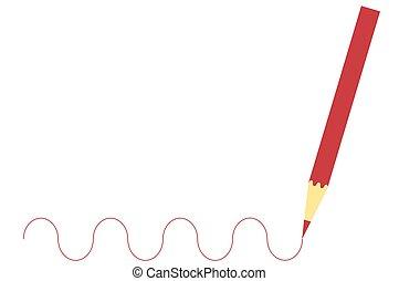 木製の鉛筆, 図画, 赤