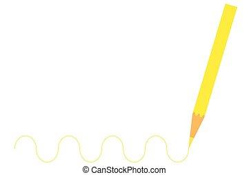 木製の鉛筆, 図画, 黄色