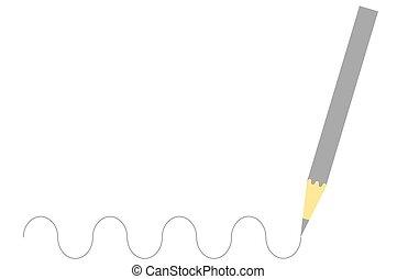 木製の鉛筆, 灰色, 図画