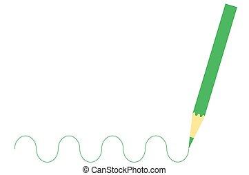 木製の鉛筆, 緑, 図画