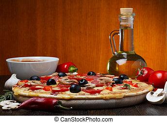 木製的桌子, 熱, 烘烤, 比薩餅