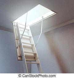 木製的階梯, 到, the, 頂樓