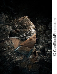 木道, 光景, 海, 小洞窟