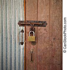 木頭, 房子, 門鎖