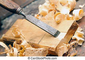 木頭, 老, 鑿子,  -, 木材加工, 車間, 葡萄酒, 木工工作