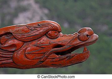 木頭, dragon's, 頭, 在, a, 寺廟, 華北