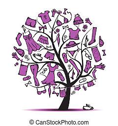 木, あなたの, ワードローブ, デザイン, 衣服