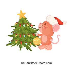 木。, かわいい, ブラウン, 飾る, イラスト, バックグラウンド。, ベクトル, 白, マウス, クリスマス