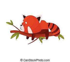 木, かわいい, 赤, 漫画, あること, 睡眠, ブランチ, ポーズを取りなさい, パンダ, ベクトル, イラスト
