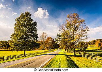 木, そして, 農場, フィールド, 前方へ, a, 道, 中に, 田園, ヨーク, 郡, pennsylvania.