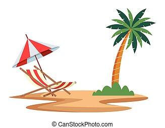 木, やし, 椅子, 浜, 漫画, アイコン