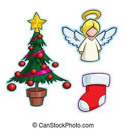 木, アイコン, ストッキング, -, 漫画, 天使, セット, クリスマス
