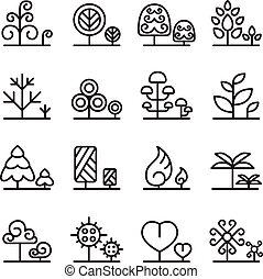 木, アイコン, セット, 中に, 薄いライン, スタイル