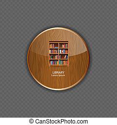 木, アイコン, 図書館, 適用, ベクトル, イラスト