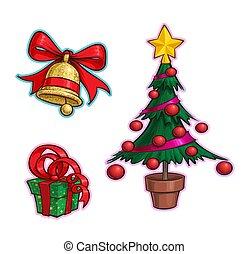 木, -, アイコン, 漫画, セット, 贈り物, クリスマス, 鐘