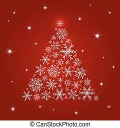 木, イラスト, クリスマス, ベクトル, デザイン, 背景, 雪片, 赤