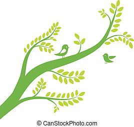 木, イラスト, ベクトル, birds., 春