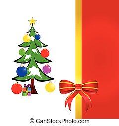 木, イラスト, 弓, ベクトル, クリスマス, 赤