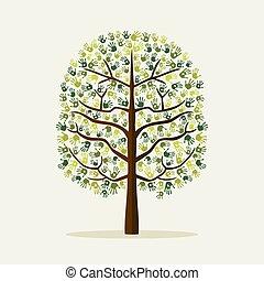 木, イラスト, 手, 環境, 緑, 印刷