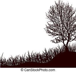 木, イラスト, 草, ベクトル, 地位