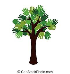 木, エコロジー, 緑, 手