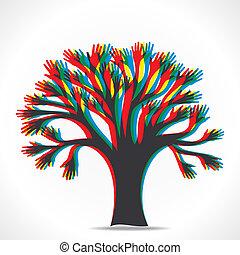 木, カラフルである, 手