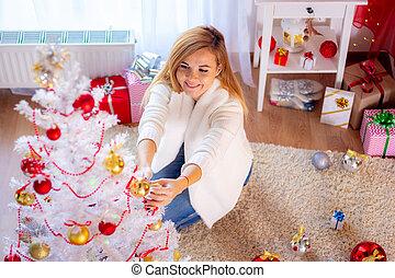 木, クリスマス, の上, 服, 単独で女の子