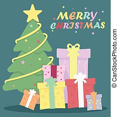 木, クリスマス, イラスト, ベクトル