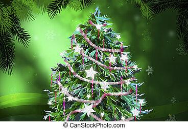 木, クリスマス, イラスト
