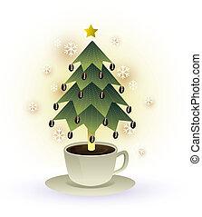 木, クリスマス, カップ, ベクトル, コーヒー