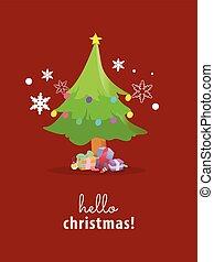 木, クリスマス, ベクトル, バックグラウンド。, 赤, illustration.