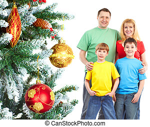 木。, クリスマス, 家族, 幸せ