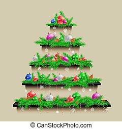 木, クリスマス, 棚