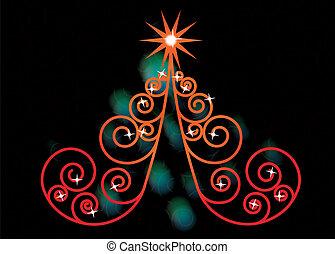 木, クリスマス, 渦巻