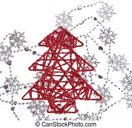 木, クリスマス, 雪片