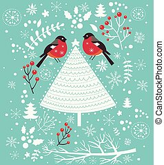 木, クリスマス, 鳥