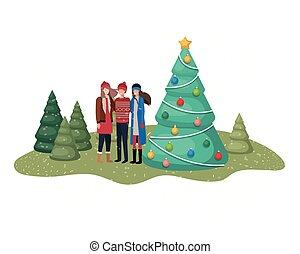 木, グループ, クリスマス, 風景, 人々